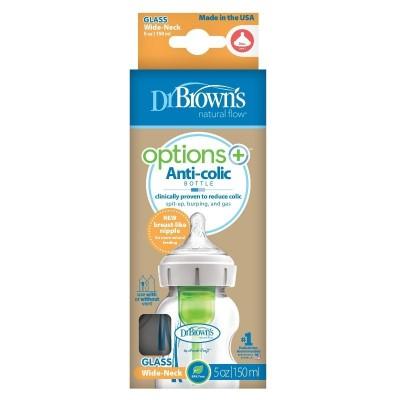 Dr Brown's Options Plus Anti-Colic Bottle Glass Collo Largo 150ml