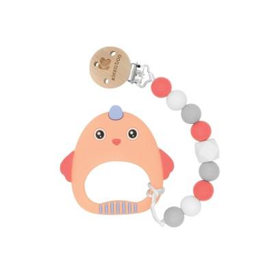 Clip Catenina ciuccio  con dentiera in silicone Kikka Boo Orange Bird
