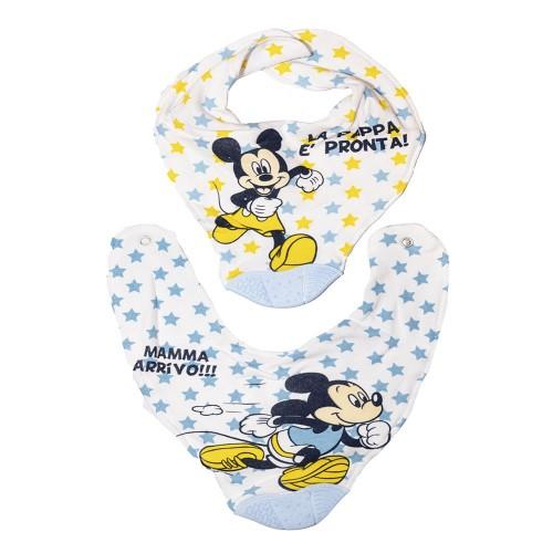 Bavaglini cotone e inserto Mickey mouse / Topolino kit 2 pezzi